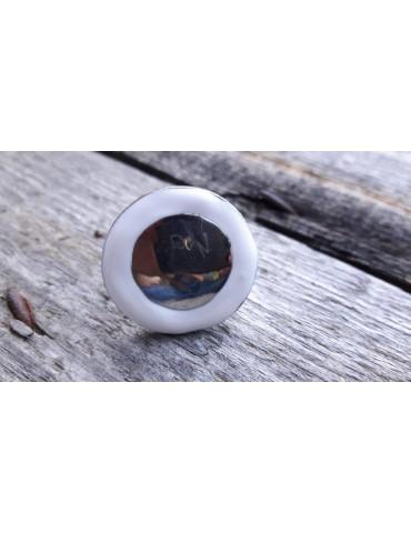Ring Damenring Metall Emaille weiß silber rund verstellbar