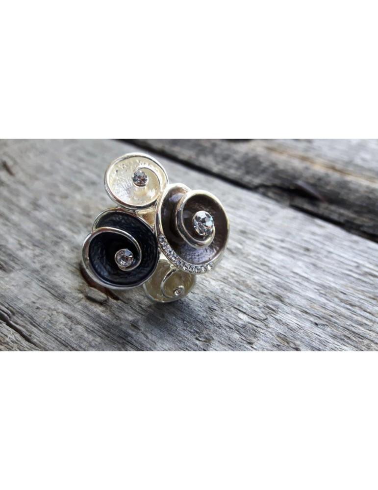 Ring Damenring Metall Strass braun creme silber Blüten verstellbar
