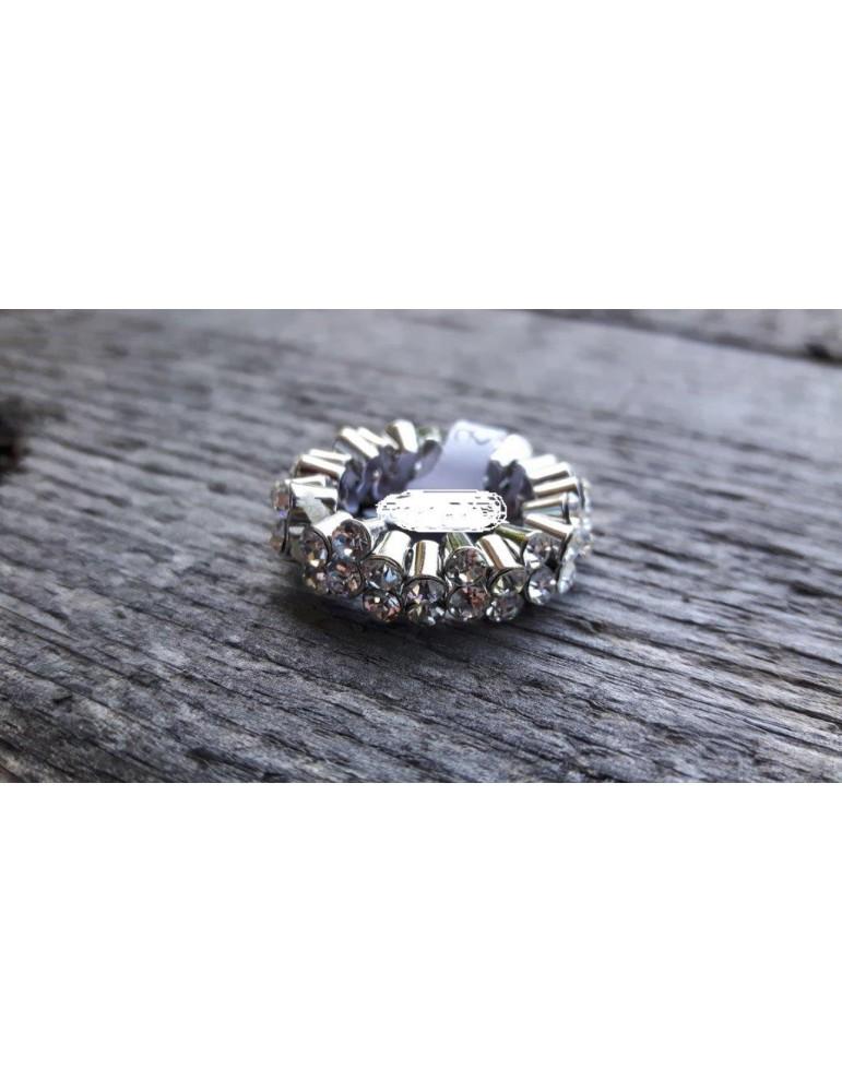 Ring Damenring Damen Metall Kunststoff weiß silber Strass Steine elastisch