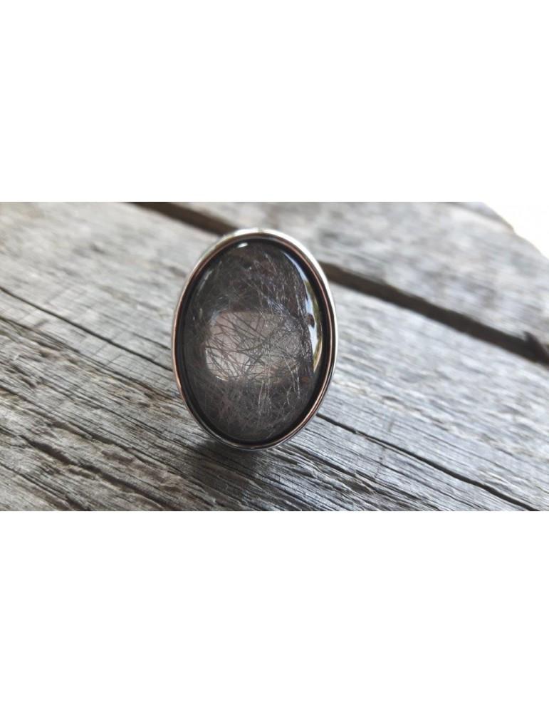 Ring Damenring Metall Kunststoff silber taupe grau elastisch
