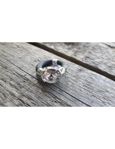 Ring Damenring Kautschuk Metall schwarz weiß Strass Stein Gr. 18 460020