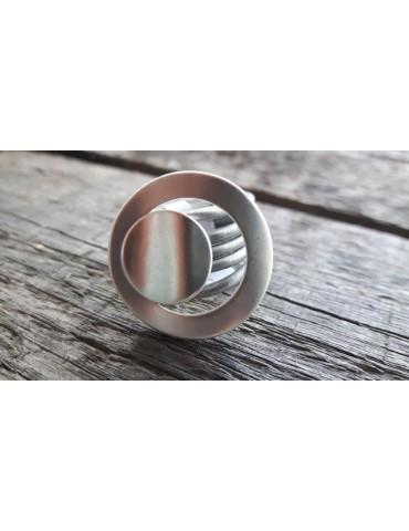 Ring Damenring Echtes Leder Metall hellgrau silber Gr. 18 RX5142