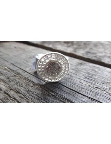 Ring Damenring Echtes Leder Metall hellgrau silber Strass Gr. 19 RX5177