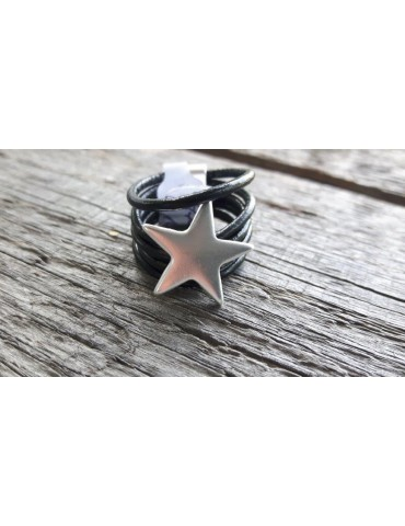 Ring Damenring Echtes Leder Metall schwarz silber Stern Star Gr. 19