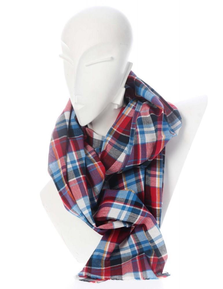 9c861f74341e81 Zwillingsherz Herren Schal Tuch rot blau weiß schwarz grau orange kariert  Baumwolle