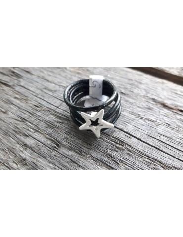 Ring Damenring Echtes Leder Metall schwarz silber Stern Gr. 20