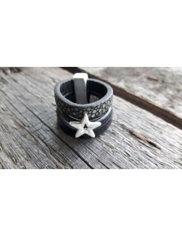 Ring Damenring Echtes Leder Metall schwarz silber Stern Gr. 19