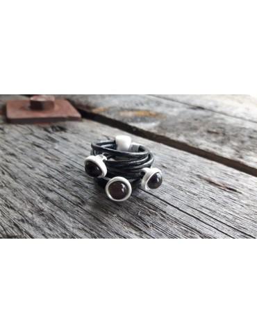 Ring Damenring Echtes Leder Metall schwarz silber halbe Perlen