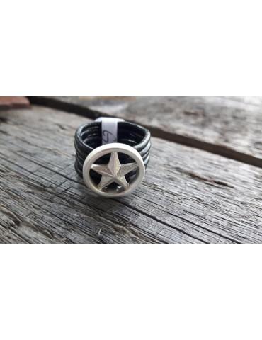 Ring Damenring Echtes Leder Metall schwarz silber Stern Star