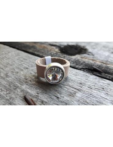 Ring Damenring Echtes Leder Metall beige weiß Strass Stein Gr. 19 12922