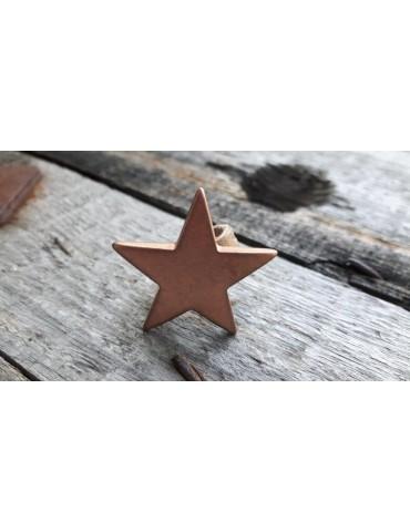 Ring Damenring Echtes Leder Metall Kupfer beige Stern Star Gr. 17