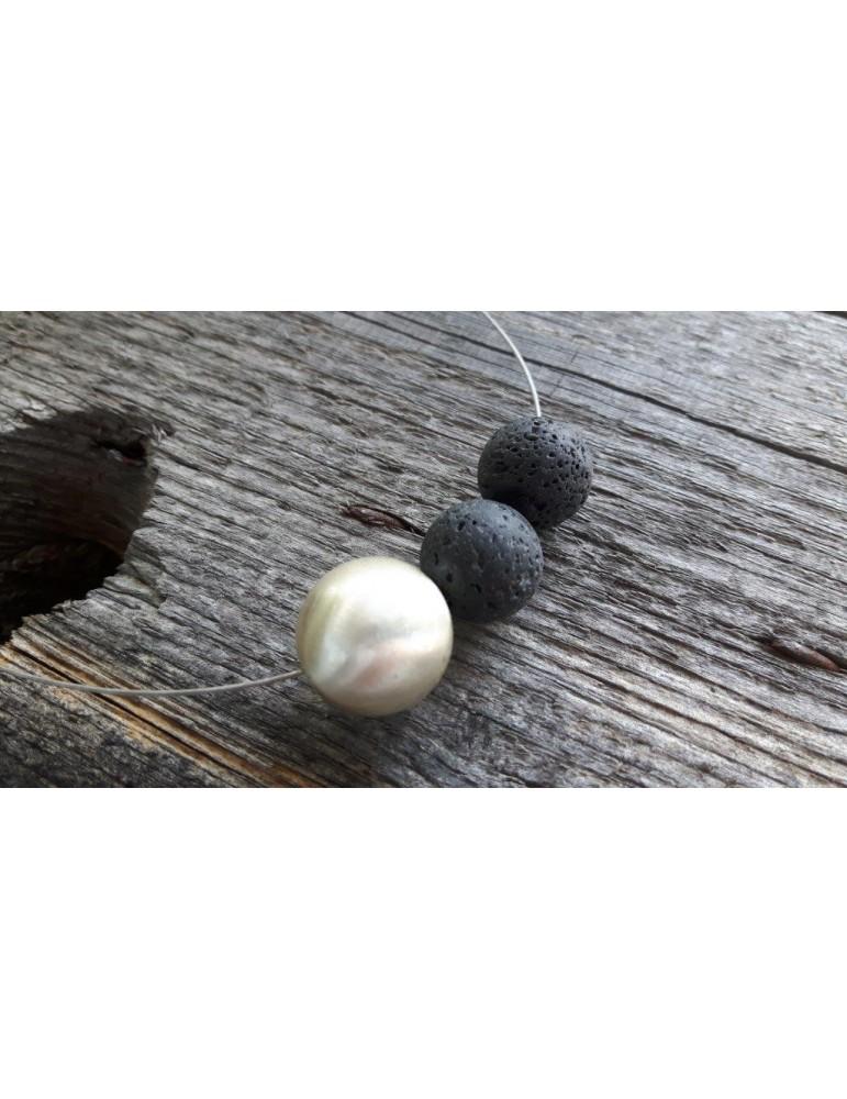 Damen Kette Halskette schwarz silber Lava Steine