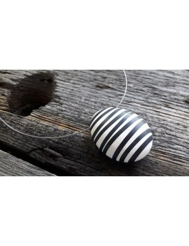 Culture Mix Damen Kette Halskette schwarz weiß Streifen 4125W