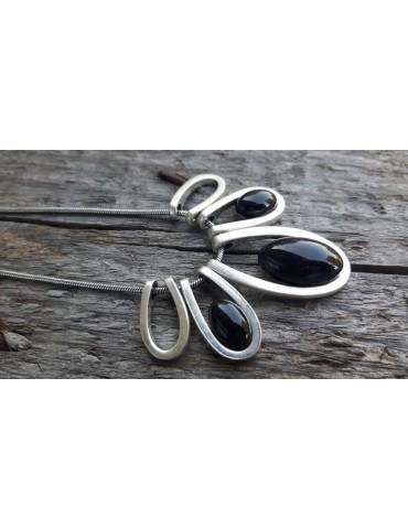 Damen Kette Halskette altsilber silber schwarz Tropfen 10638