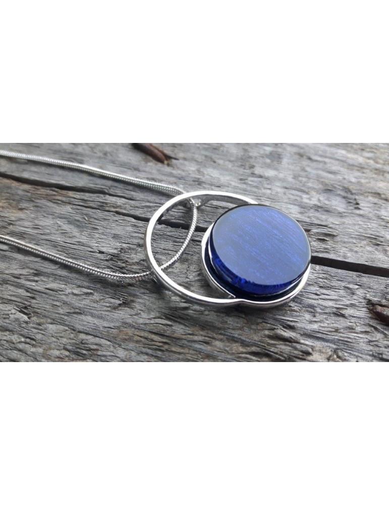 Damen Kette Halskette silber blau blue rund 10639/ 1