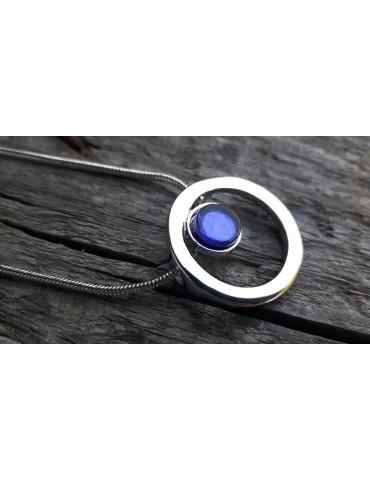 Damen Kette Halskette silber blau blue rund 10641