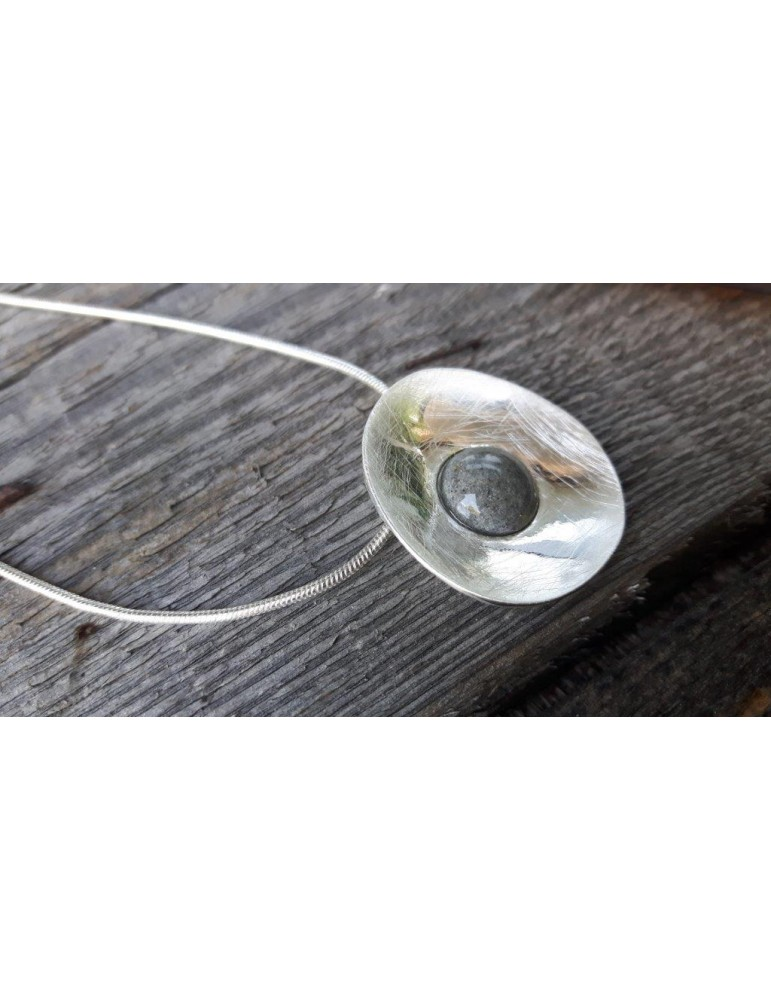 Damen Kette Halskette silber grau grey rund 10640/ 2