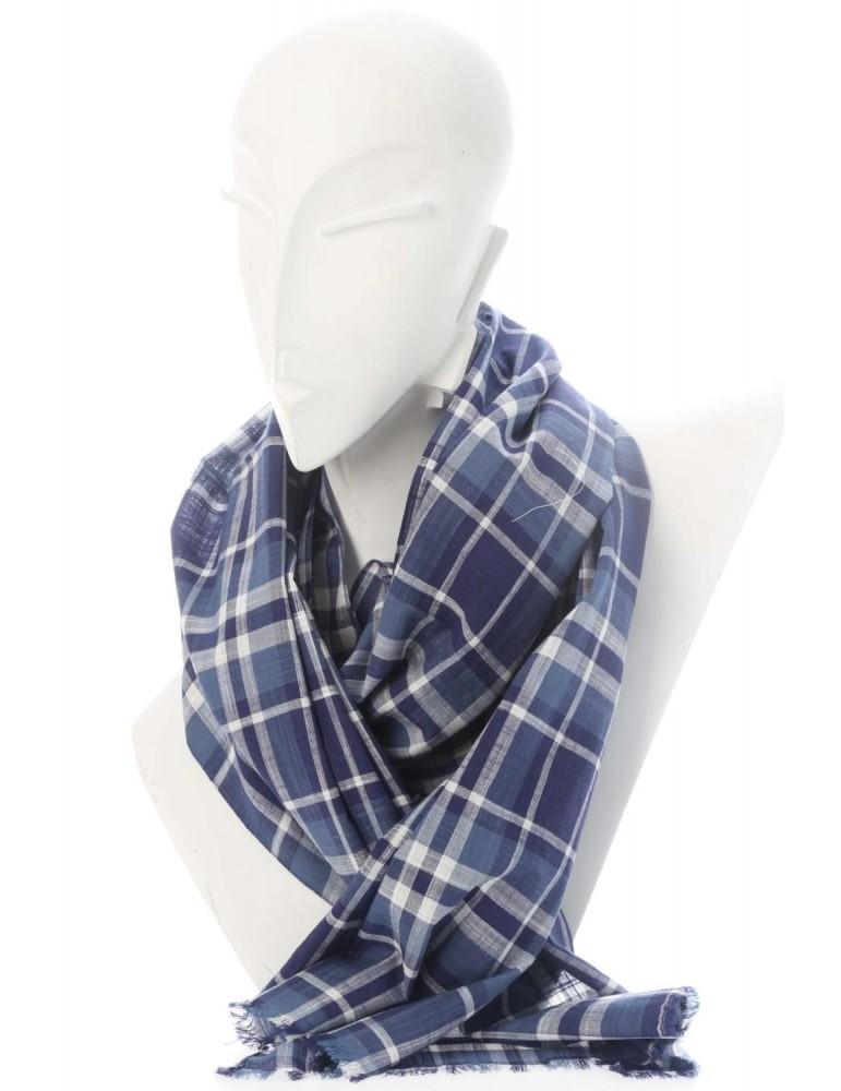 Zwillingsherz Herren Schal Tuch dunkelblau blau weiß kariert Baumwolle