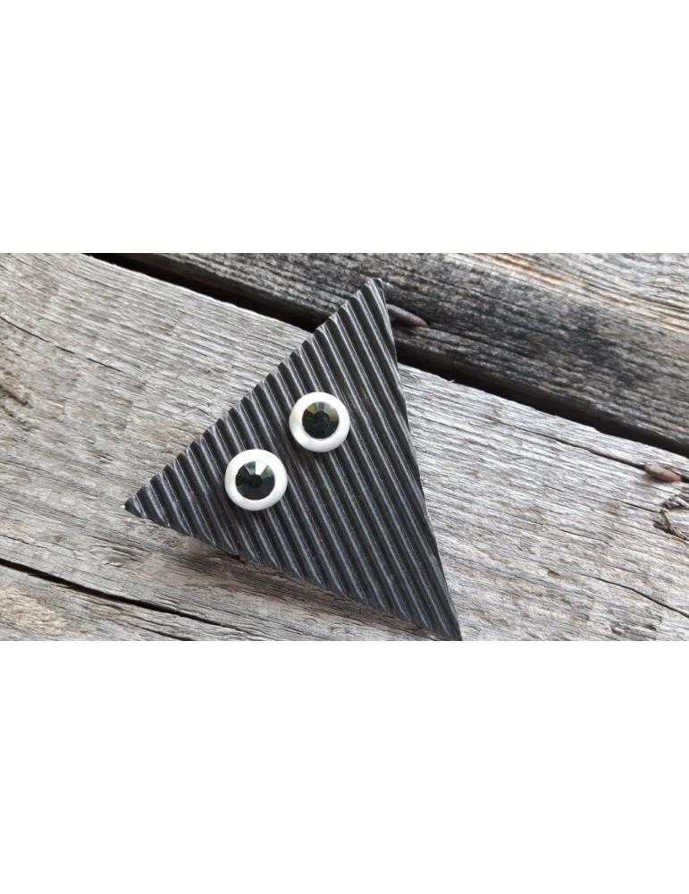 Damen Ohrringe Ohrstecker schwarz black silber rund OA3254