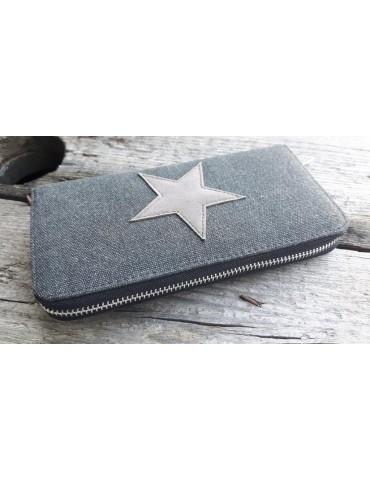 Portemonaie Geldbörse Börse anthrazit grau braun Stern Star Stoff