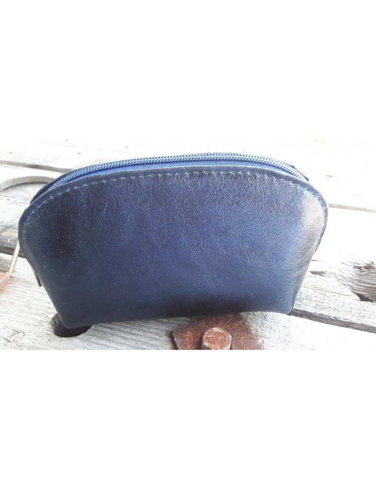 Kosmetiktasche Portemonnaie dunkelblau blau metallic echtes Leder Made in Italy