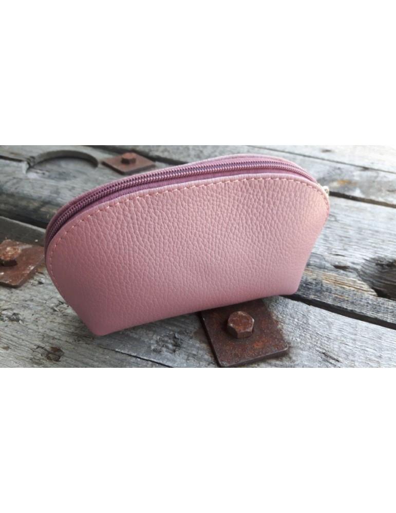 Kosmetiktasche Portemonnaie altrose rosa echtes Leder Made in Italy