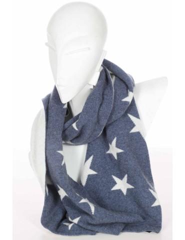 Zwillingsherz Wende Schal jeansblau blau creme Sterne mit Kaschmir
