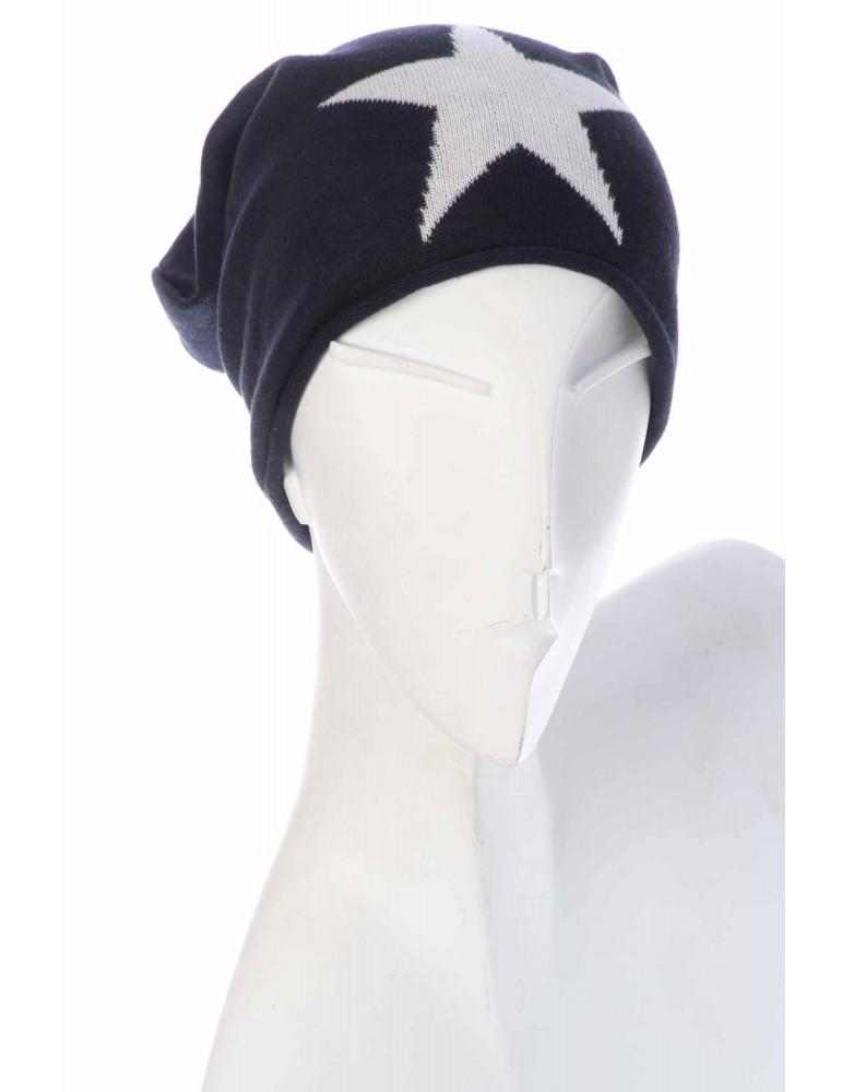 Zwillingsherz Mütze Sommer Beanie dunkelblau weiß Stern mit Baumwolle