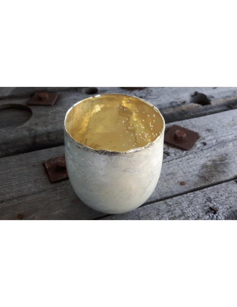 Teelicht Teelichtglas Kerzenständer Glas creme gold Vintage rund groß 13636
