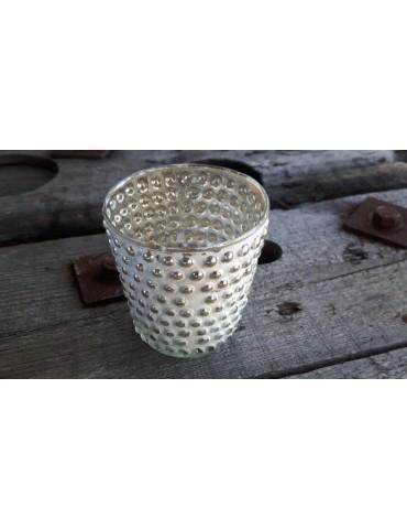 Teelicht Teelichtglas Kerzenständer Glas creme silber Vintage rund genoppt 13725
