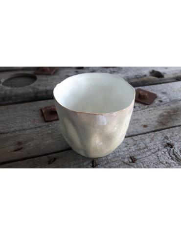 Teelicht Teelichtglas Kerzenständer Glas creme weiß Schimmer groß 13726
