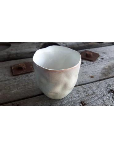 Teelicht Teelichtglas Kerzenständer Glas creme weiß Schimmer klein 13727