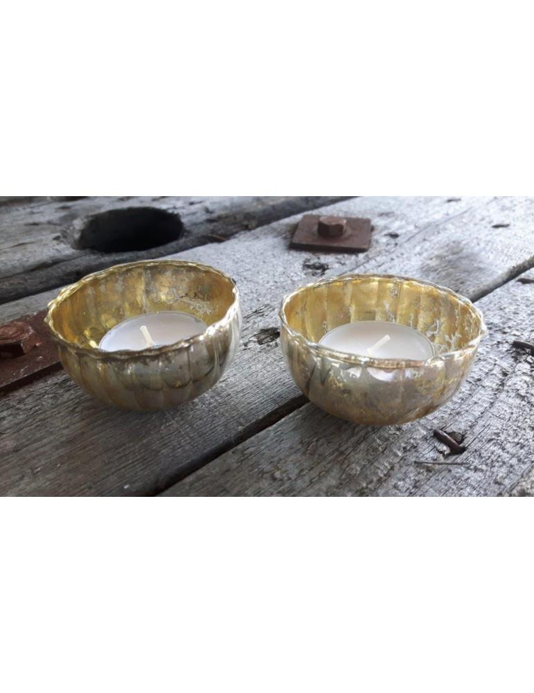 Teelicht Teelichtglas Kerzenständer Schwimmkerzen Glas silber gold Schimmer 13268