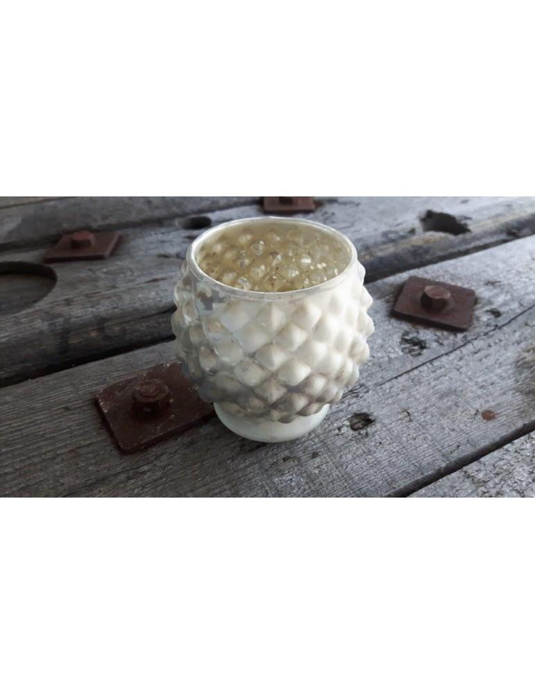 Teelicht Teelichtglas Kerzenständer Glas creme gold silber matt Noppen 13264