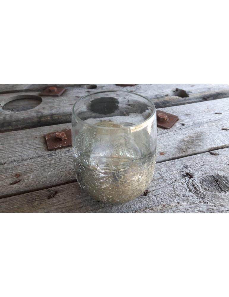 Teelicht Teelichtglas Kerzenständer Glas Vase klar silber gebrochen 12759