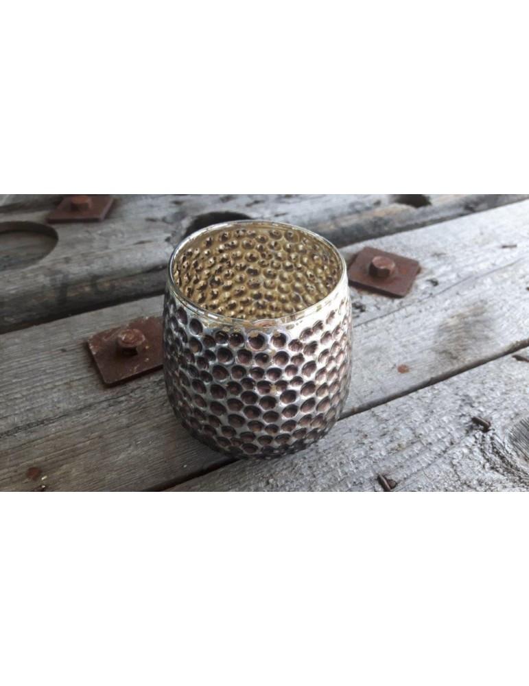 Teelicht Teelichtglas Kerzenständer Glas silber anthrazit grau Punkte Glanz 13261