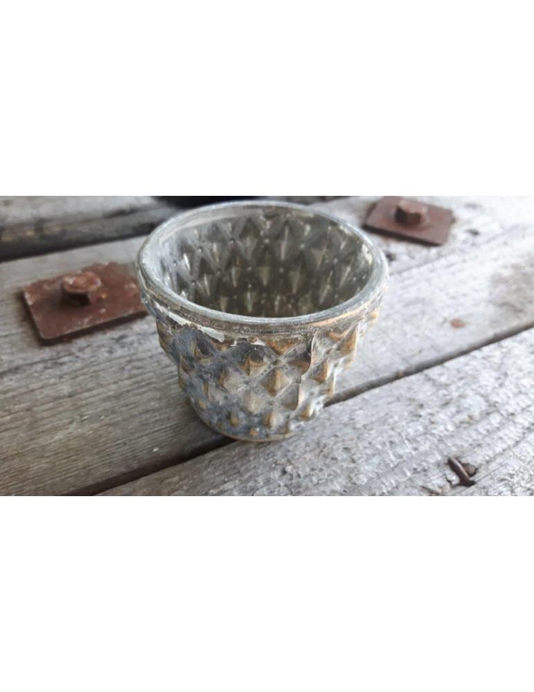 Teelicht Teelichtglas Kerzenständer Glas gold grau Rauten Noppen 13258