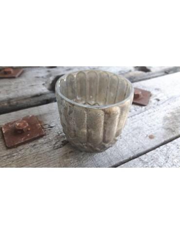 Teelicht Teelichtglas Kerzenständer Glas beige Vintage