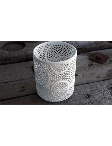 Teelicht Kerzenständer Metall weiß Vintage Muster klein 13634