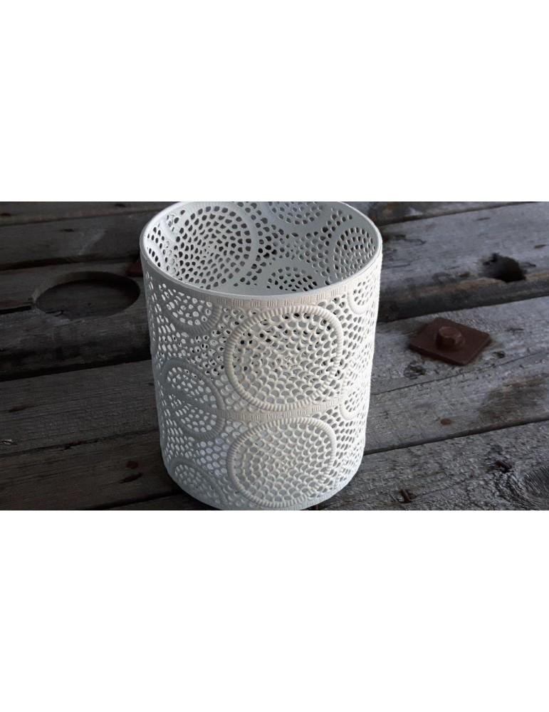 Teelicht Kerzenständer Metall weiß Vintage Muster groß 13732