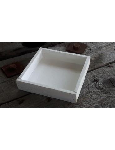 Dekobrett Holzbrett Brett für Teelichter weiß Holz klein Eckig 14 x 14 x 3 cm 13733