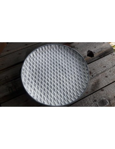 Dekobrett Teller für Teelichter Holz weiß hellgrau Muster rund Ø 34 cm 13289