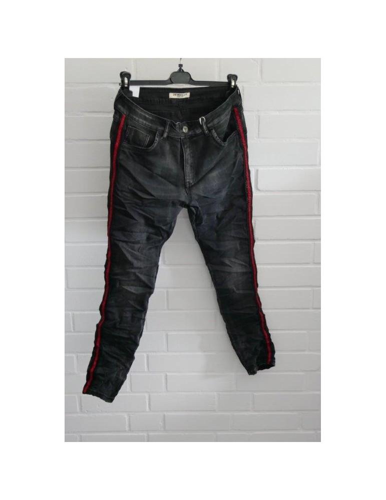 Jewelly Coole Jeans Hose Boyfriend anthrazit schwarz rot Streifen