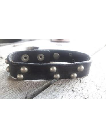 Armband Herren Damen unisex Echtes Leder schwarz silber Nieten verstellbar