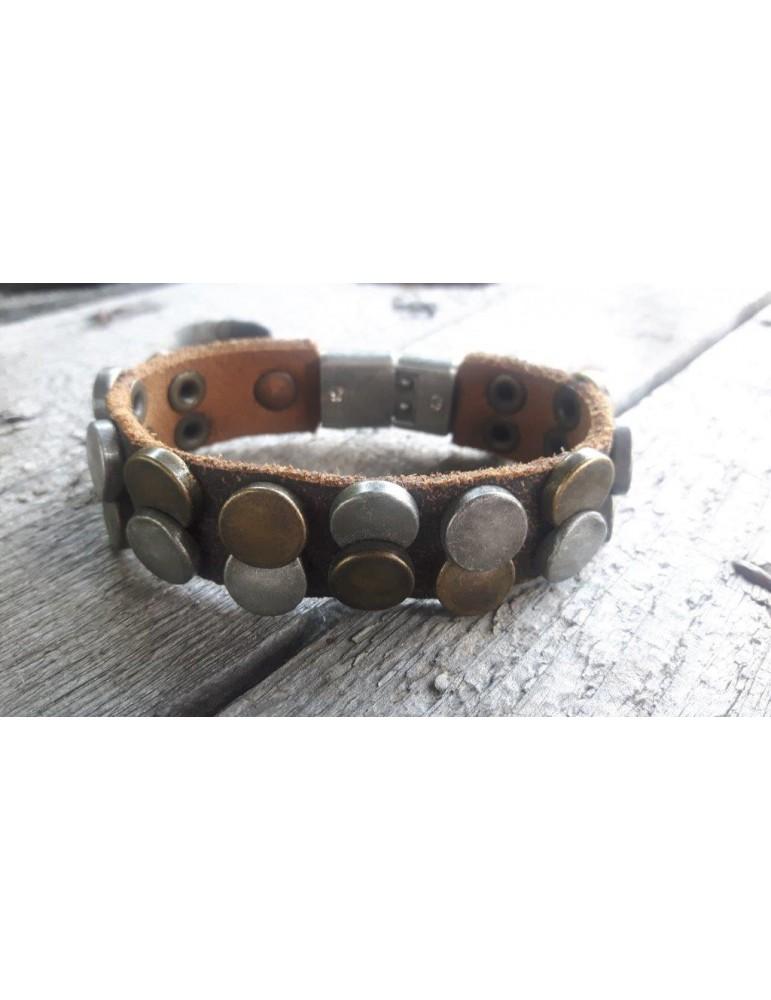 Armband Herren Damen unisex Echtes Leder braun altsilber Kupfer