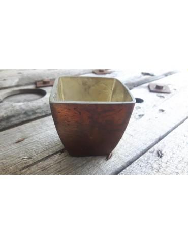 Teelicht Teelichtglas Kerzenständer Glas braun bronze Schimmer eckig 033834