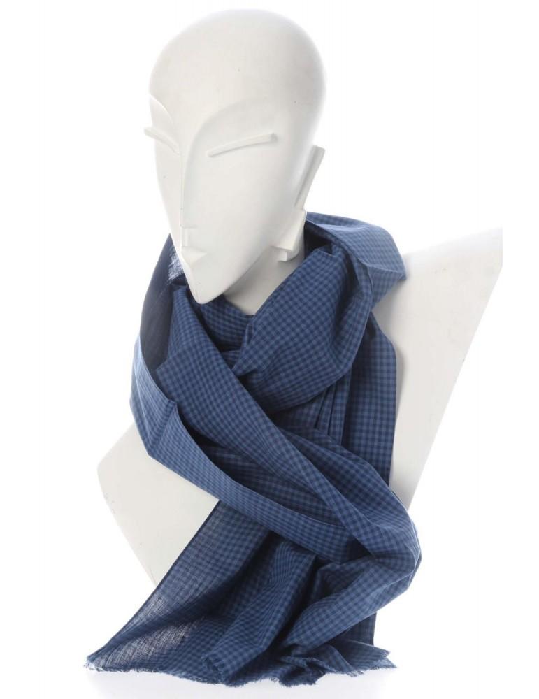 Zwillingsherz Herren Schal Tuch dunkelblau blau Karo kariert Baumwolle