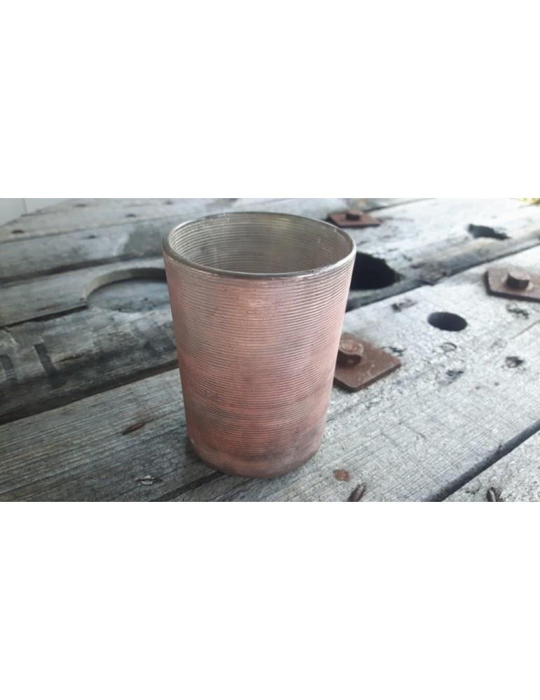 Teelicht Teelichtglas Kerzenständer Glas rose rosa grau matt rund Rillen 12924