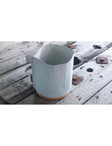 Teelicht Kerzenständer Papier gummiert hellgrau Holz 11843 groß
