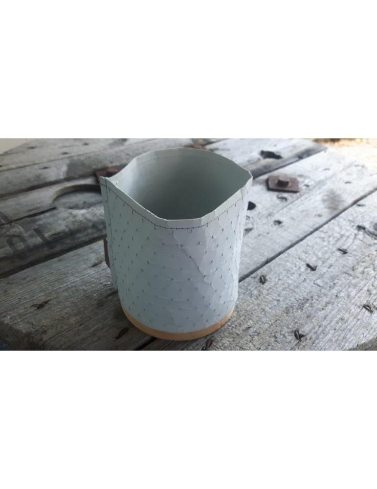 Teelicht Kerzenständer Papier gummiert hellgrau Holz 11842 klein
